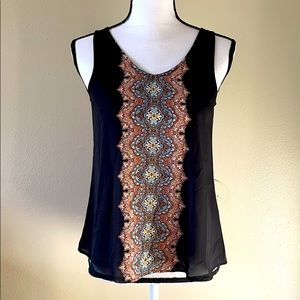 Pink Rose Black Tank Top with ethnic prints